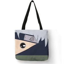 Anime Nar*to Kakashi Sasuke Linen Tote Bags Eco-friendly Shoulder Bag Beach Bag