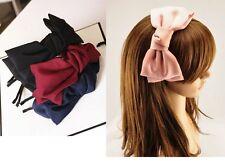 Oversize LOVELY HAND MADE doppio strato di Raso Fiocco Fascia Di Metallo Cerchietto Hairband
