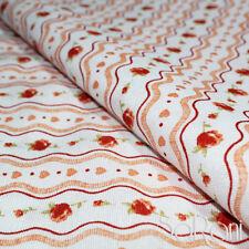 Tessuto Stoffa Taglio 2,60 mt. Cotone Fantasia Rose Arancione Cuscini Tavola