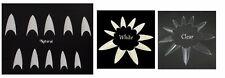 Stiletto Sharp False Nail Art Tips Half Cover - Acrylic White + Clear Salon - UK