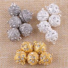 5Pairs Round Ball Crystal Rhinestone Magnetic Clasps DIY Jewelry Making 19 x14mm