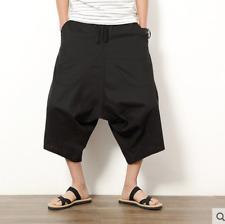 Men's japanese samurai boho harem hakama lin coton pantalon shorts E633