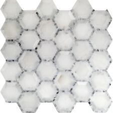 White Grey Hexagon Pattern Stone Mosaic Tile Kitchen Shower Wall Backsplash