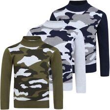 garçons camouflage pull tricot enfants manches longues SWEATSHIRT HAUT 3-12 ans