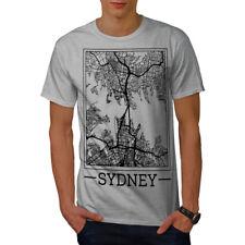 Wellcoda Australie Sydney Carte T-shirt homme, grand motif graphique imprimé Tee