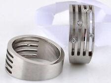 RING MAN TEENAGER STEEL NEW JEWEL LUXURY WEDDING RING 4 ZIRCONS ORIGINAL 1149