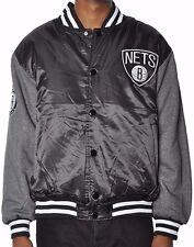 Brooklyn Nets Men's Majestic NBA Brooklyn Nets Team Satin Snap Up Jacket