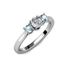Diamond (SI2-I1, G-H) & Aquamarine 3 Stone Ring 0.54ct tw 14K Gold JP:34944