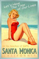 SANTA MONICA California Original Beach Poster Pacific Ocean Pin Up Art Print 241