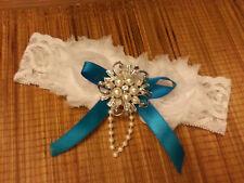 Wedding Giarrettiera Vintage Giarrettiera-Giarrettiera Nuziale Bianco Avorio qualcosa di blu Giarrettiera