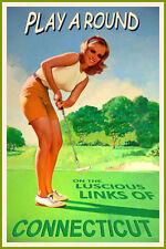 CONNECTICUT  New Original Golf Travel Poster Kristen Putter Pin Up Art Print 225