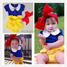 3Pcs Snow White Princess Baby Girl T shirt Bloomer Headband Outfit Costume