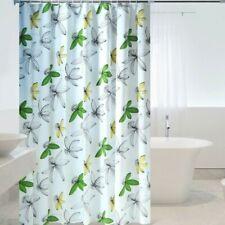Fabric Bath Shower Curtains 3D Flowers Printed Bathroom Curtain Waterproof Rings