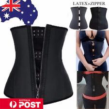 Latex Zip Waist Trainer Body Shaper Corset Tummy Cincher Training Slimming