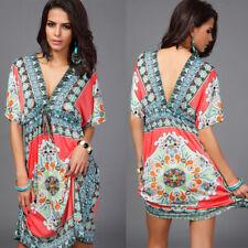 UK STOCK Tribe Ladies Loose Holiday V Neck Floral Lagenlook Tunic Dress Kaftan