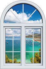 Sticker fenêtre trompe l'oeil Bateaux mer réf 1003