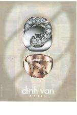PUBLICITE   2012  DIN VAN joaillerie de luxe bijoux bagues