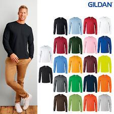 Gildan Ultra Cotton Adults Long Sleeve T-Shirt 2400 - Men's Plain Crew Neck Top