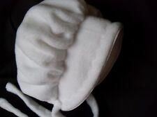 Baby Classic White FLEECE BONNET Winter hat NB,3,6,9,12,18, 24, 36 mo.