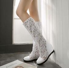 Women Med Hidden Heel Lace Mesh Casual Lady Summer Clubwear Sexy Knee High Boots