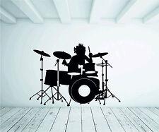 Drummer KIT BATTERIA A NASTRO INFORMALE MUSICA Adesivo Murale Vinile