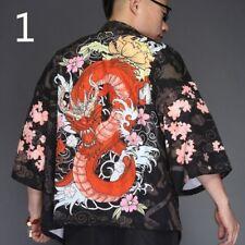 Men Japanese Yukata Coat Kimono Outwear Retro Loose Top Black Dragon Fashion Tee