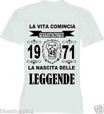T-shirt uomo donna la vita comincia 46 anni 1971 leggende compleanno anno