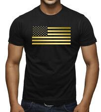 Men's Reflective Gold US Flag Black T Shirt American USA Athletic Gym Tee