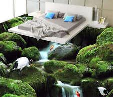 Vert Moss Rock Cascade 3D Sols Mural Photo Papier Peint Maison Imprimer Décor