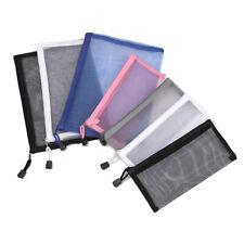 Coin Purse Cosmetic Storage Mesh Pen Bag Zipper Pencil Case Transparent Grid
