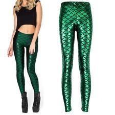 Women Mermaid Fish Scale Skinny Stretch Slim Pants Fashion Leggings Plus Size#43