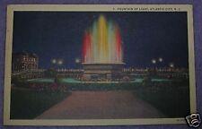 FOUNTAIN OF LIGHT ATLANTIC CITY, NJ POSTCARD 1936