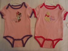 DISNEY Baby 3-6 Month Pooh or Minnie Short Sleeve Cotton Bodysuit Choice NWT