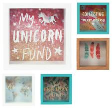 Money Box Girls Savings Glass Box Wooden Frame Unicorns Piggy Bank Unicorns