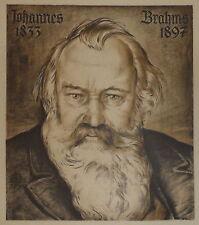 1940-GRANDE INCISIONE-RITRATTO DI JOHANNES BRAHMS-COMPOSITORE-PIANISTA