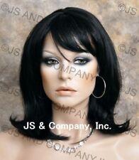 HUMAN HAIR Blend Straight Black HEAT SAFE CUTE Wig WBPM 1