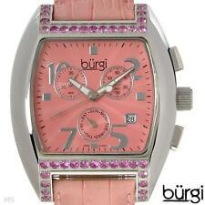BURGI Swiss ISA Chrono Day/Date Watch, 1.85ctw Natural Pink Sapphires, BUR041P