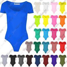 New Womens Cap Short Sleeve Plain Round Neck Stretch Leotard Bodysuit T-ShirtTop