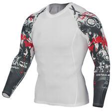 Da Uomo Compressione Top Palestra CrossFit MMA TESCHIO CICLISMO Muscolo PUNITORE di alta qualità