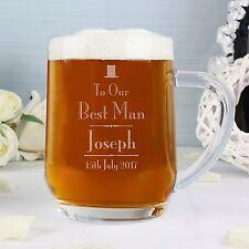 Personalised Beer Glass Tankard Engraved Wedding Gift Bestman Usher Father Groom