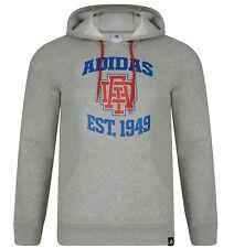 Mens New Adidas College Logo Hoodie Hoody Hooded Sweatshirt Jumper Top - Grey