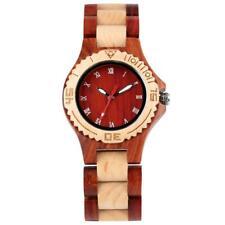 Casual Nature Wood Women Quartz Analog Wrist Watch Full Bamboo Strap Bracelet