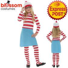 CK456 Wenda Waldo Wheres Costume Girls Kids Where's Wally Fancy Dress Book Week