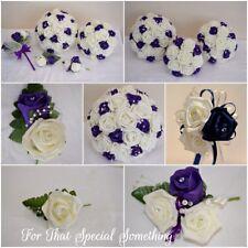 bridal bouquet buttonholes corsages white and purple bridal flowers