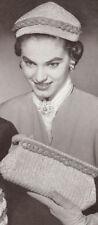 Vintage Crochet PATTERN Hat Clutch Purse Bag 40s 50s
