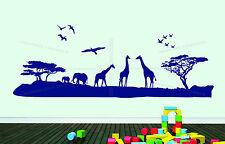 Safari en Afrique Paysage Animaux éléphant Girafe Décoration Autocollant Mural Vinyl Decal