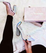 Clear Rhinestone Diamond Chunky High Heel  Pointed Toe Pump Cape Robbin Shoes