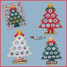 27cm en bois sapin de Noël avec 18 ORNEMENTS & TRAIN - Blanc, rouge ou vert