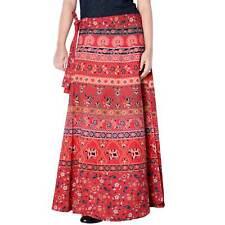 Cotton Maxi Long Red Skirt Animal Print Repron Sarong Women Boho Skirt