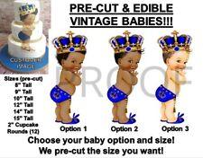 PRE-CUT Royal Blue Little Prince Studded Crown Baby EDIBLE Cake Topper Tassel